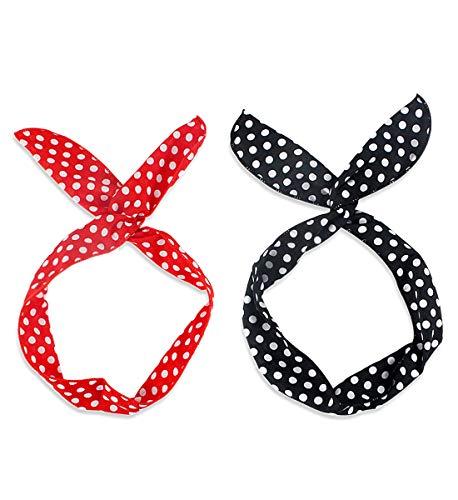 LADES Damen Stirnbänder - 2 Sätze Stirnbänder Frauen Vintage Blumendruck Headwrap Twist Knoten Haarband Yoga Kopf wickelt Sport Elastic Turban Haar Zubehör (Wire-2) -