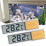 ALLOMN Termometro per Acquario, Confezione da 2 Confezioni Acquario Termometro Digitale Alta Sensibilità, Due Adesivi Laterali, Precisione Fino a 0,1 Gradi (Oro)