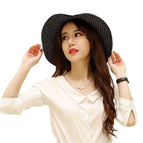 Elegante, alla moda, con protezione raggi UV, pieghevole, due lati, orlo Cappello Parasole traspirante per Traveler UPF 50-Cappellino da spiaggia per donna, Lady