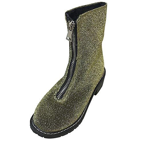 MYMYG Damen Stiefeletten Ankle Boots Frauen Platz Ferse Schuhe Martain Stiefel Pailletten Stoff Reißverschluss Runde Zehe Schuhe Freizeit Übergrößen Warme Plüsch Gefüttert Stiefel