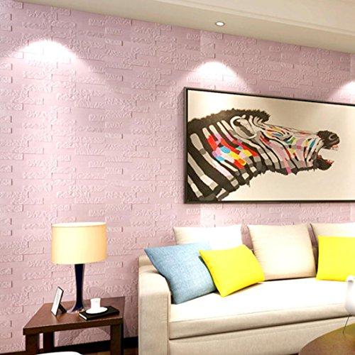 MMLC PET Schaum 3D Tapete DIY Wand Aufkleber Wand Dekor Prägeartiger Ziegelstein Beleuchtung Lichter (Rosa)