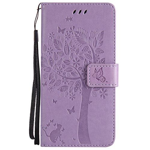Chreey Motorola Moto G6 Hülle, Prägung [Katze Baum] Muster PU Leder Hülle Flip Case Wallet Cover mit Kartenschlitz Handyhülle Etui Schutztasche [Hell lila]