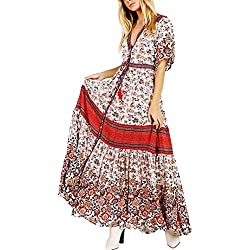 R.Vivimos Women's Floral Print Middle Sleeve Casual Boho Beach Style Long Maxi Dress Button Cardigan (XL, Red)