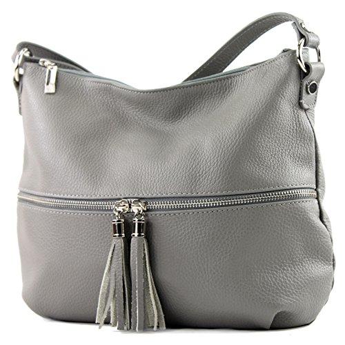 modamoda de - ital. Ledertasche Damentasche Umhängetasche Tasche Schultertasche Leder T159, Präzise Farbe:Grau