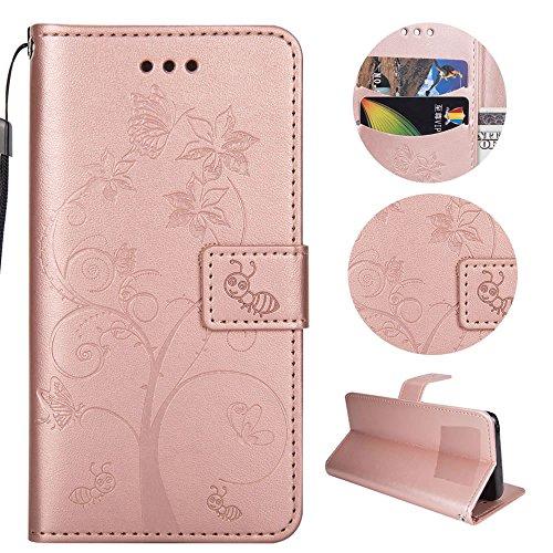 Sycode Custodia per iPhone 6S,PU Custodia in Pelle Magnetica Carina Farfalla Albero Fiore Formica Portafoglio Cover per iPhone 6S/6 (4.7')-Oro Rosa