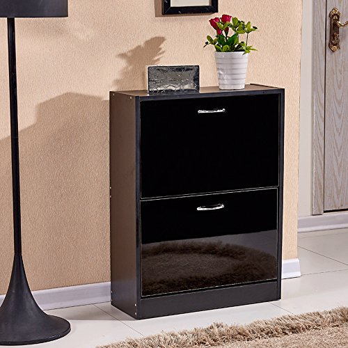 Tason Modern Design High Gloss Shoe Cabinet, Wooden Shoe Rack Closet Hallway  Storage Organiser Unit (2 Drawer, Black)