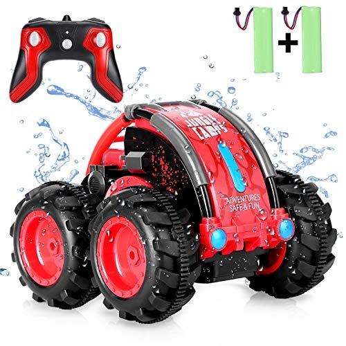 SZJJX Ferngesteuertes Auto, Wasserdicht RC Stunt Auto Boot, 360° Drehung Land und Wasser Amphibien Alles Gelände Fahrzeug, 4WD 2.4Ghz Off-Road Buggy Spielzeug für Kinder Geschenk