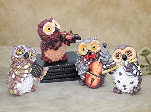TIED RIBBONS Set of 4 Owls Playing Musical Instruments, Garden Decoration Items for Home, Outdoor Decoration, Christmas Decorations (Multicolor)