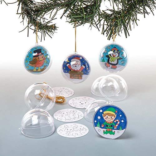 Baker Ross Kit de Boules de Noël à Décorer (Paquet de 8) - Loisirs Créatifs et Décorations de Noël pour Enfants