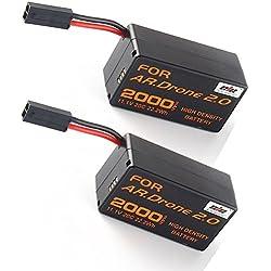 2pcs 2000mAh 11.1v Batterie grande capacité pour Parrot AR.Drone 2.0 Quadcopter Nouveau
