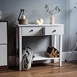 Home Discount Windsor 2 Drawer Console Table With Shelf, White Wooden Hallway Living Room Bedroom Dressing Dresser Desk Furniture