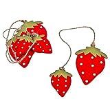 Erdbeer Deko Anhänger 3er Set Holz 6-8cm rot Dekoration