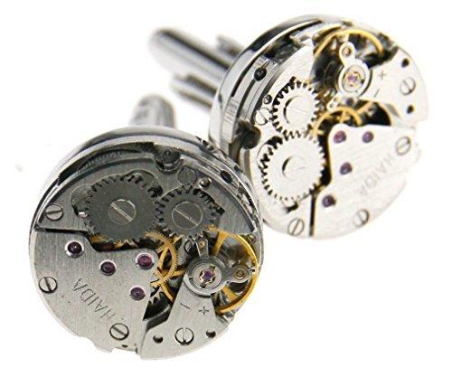 Runde Manschettenknöpfe mit Uhrwerk-Design, Hochzeitsgeschenk für Männer, im Vintage-Stil (Manschettenknöpfe Runder)