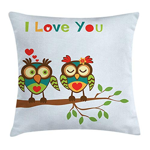 Cupsbags Romantic Throw Pillow Cushion Cover, Colorful Abstract Owls on a Branch with a Quote Expressing Affection and Adoration, Decorative Square Accent Pillow Case, Multicolor24 Patterned Magnolia Branch
