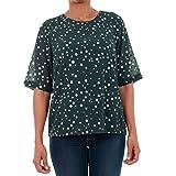 VERO MODA T-Shirt Damen M Kurzarm Dunkelgrün 10198237 VMDIVIA Dot SS Top FD Green Gables/Silver Dots