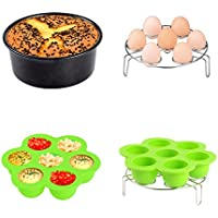 KINDEN Instant Pot Accessories Pressure Cooker 5/6/8 Litre, Non-stick Cake Tin Silicone Egg Bites Mold Egg Steamer Rack