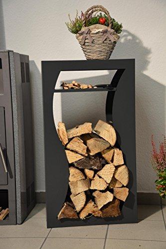 *Kaminholzregal Innen aus Metall Welle mit Anfeuerholzfach – Anthrazitgrau*
