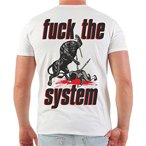 Männer und Herren T-Shirt La Familia FÜR IMMER (mit Rückendruck) Größe S - 8XL V-Neck weiß