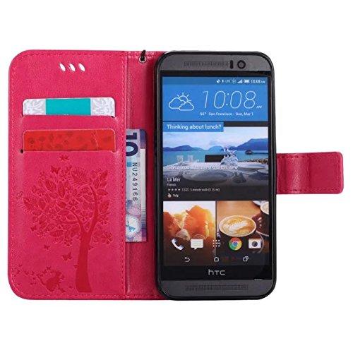 HTC M9 Case Cover, Embossing gepresste Blumen Katze und Baum Muster Solid Color PU-Leder Tasche weichen Silikon-Cover Flip-Stand Geldbörse mit Lanyard für HTC M9 ( Color : 3 , Size : HTC M9 ) 6