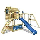 WICKEY Stelzenhaus Smart Seaside Spielturm Spielhaus mit großem Sandkasten, Holzdach, Veranda, Doppelschaukel und Rutsche