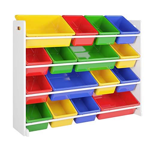Homfa Kinderregal Bücherregal Spielzeugregal Aufbewahrungsregal Aufbewahrungsboxen Toy Organizer für Spielzeug, 16 Kästen aus Kunststoff, Mehrfarbig 105 * 23 * 80cm -