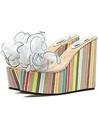 GTVERNH-Playa Talon Zapatillas Mujeres Verano Tipo 12Cm Super Zapatos De Tacon Flores Lazos Toallas