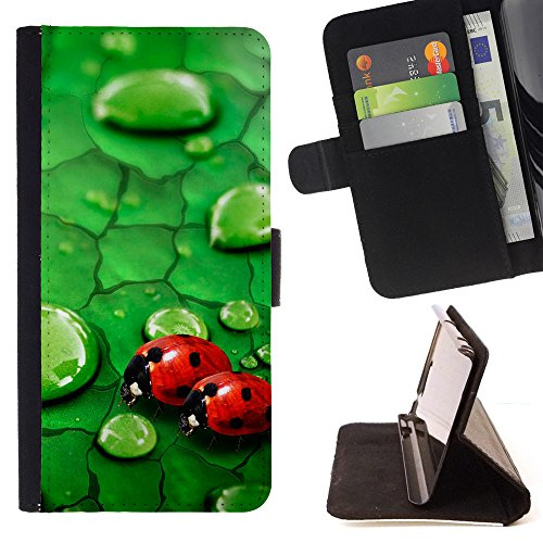BOOK CASE - FOR Samsung GALAXY Note 5/N9200 - Lady bugs on green leaf - Folio PU Wallert Leather Case