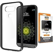 Orzly® - Coque FUSION Bumper Case pour LG G5 SmartPhone (2016) Antichocs - Coque Rigide avec Bordure Renforcée NOIR spéciale absorption d'impact avec dos 100% transparent