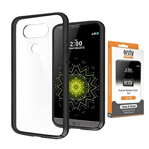 r Case für LG G5 SmartPhone / Handy (2016 Modell) - Schutz Hard Cover mit stoßabsorbierenden Gummi SCHWARZ Rim und Voll Transparente Rückseite ()