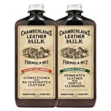 Chamberlain's Leather Milk - Kit balsamo e detergente prodotti in pelle - Conditioner No. 1 + Cleaner No. 2 - prodotti naturali e atossici 2 dimensioni. Made in USA. Include 2 applicatori! - 0.18 L