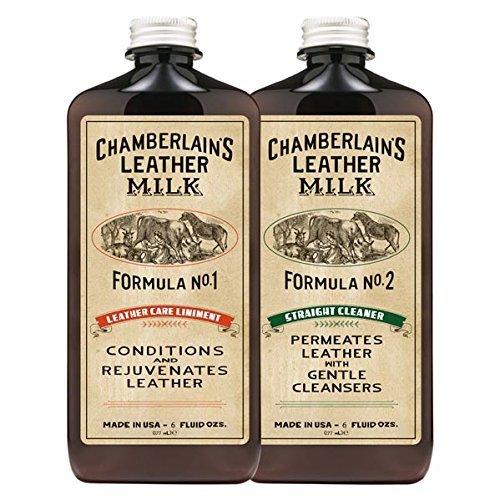 Chamberlain's Leather Milk - Nr. 1-2 - Set aus Leder-Conditioner & Reiniger - Naturbasis/ungiftig - 2 Auftragepads - Hergestellt in den USA - 2 Größen - 0.18 L (Geldbörse-reiniger Leder)