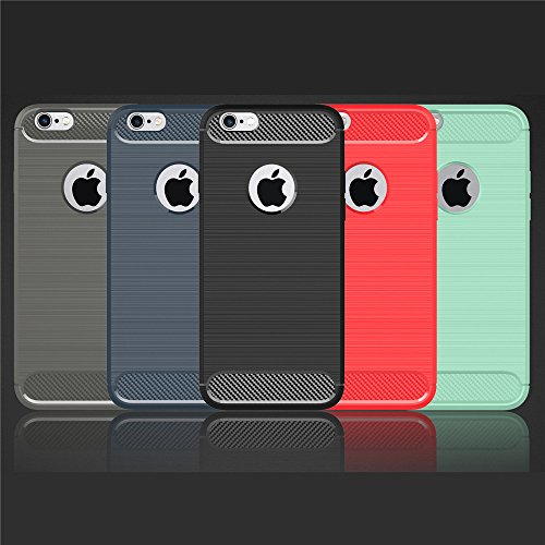 Nutbro iPhone 7 Plus Case Super-Slim Anti-Slip Grip Carbon Fiber Hybrid Rubberized Full Body Protector Cover Premium Flexible Soft TPU Case for Apple iPhone 7 Plus RED WL-7-Plus-24