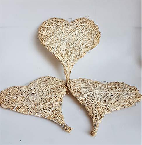 Unbekannt Herzen aus Stroh, 30 x 26 cm, 10 Stück 10 X Stroh