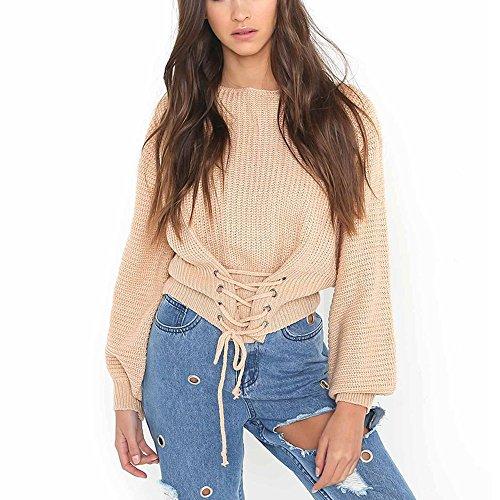 Verstellbare Taille-khaki (Bekleidung Loveso Sweater Herbst Kleidung Damen Mode Verstellbare Taille Lange Ärmel Casual Pullover Acrylfasern Freie Größe Sweatshirt Top Bluse (4 Farben zu wählen) (Free size, Khaki))