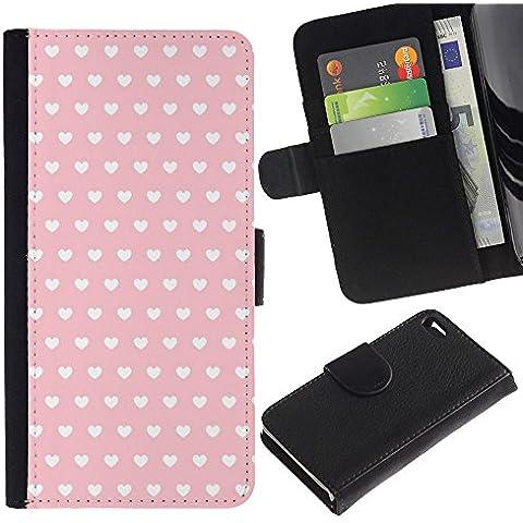 Paccase / Portafoglio del Cuoio di vibrazione del Titolare della carta Custodia per - polka dot pattern wallpaper heart pink - Apple Iphone 4 / 4S