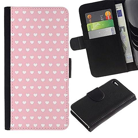 Paccase / Flip Cuir Portefeuille Housse Fente pour Carte Coque Étui de Protection pour - polka dot pattern wallpaper heart pink - Apple Iphone 4 / 4S