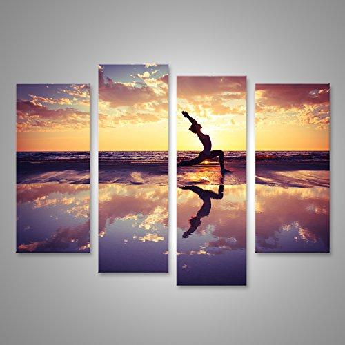 Bild Bilder auf Leinwand Silhouette der Frau üben Yoga am Strand bei Sonnenuntergang Verschiedene Formate ! Direkt vom Hersteller ! Bilder ! Wandbild...