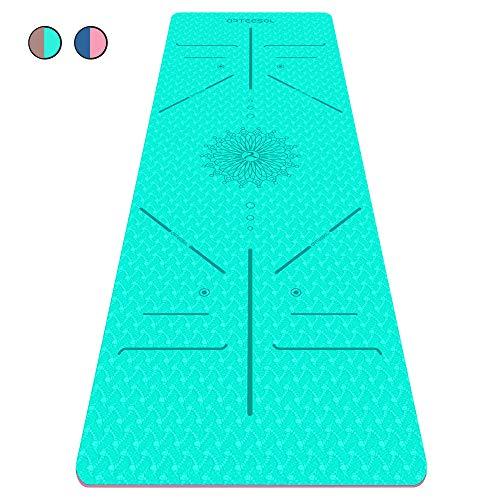 arteesol Yogamatte rutschfest Gymnastikmatte Schadstofffrei TPE Dünn Yoga Matte Fitnessmatte Trainingsmatte Sportmatte für Yoga Pilates Fitness 183cm x 61cm x 6mm (Mint, 183x61x0,6cm)