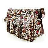 Stylla London Oilcloth Owl/Butterfly/Dog/Skull/Polka dots Designer Satchel Cross body Messenger Bag (Owl Light Pink)