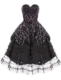 Hell Bunny Trägerloses Kleid schwarz Gothic-Design, viktorianisch, Steampunk-/Trauer-/Hochzeit-Kleid
