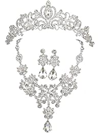 CaliaDress Joya de moda 3PCS Serie de Joya Cristal de Collar Pendiente y Corona Imperial para Novia C006SS