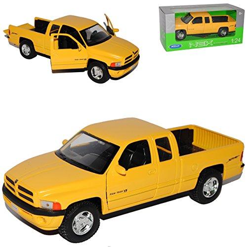 Welly Dodge Ram CAB 1500 Sport Gelb Pick-Up 1/24 Modell Auto mit individiuellem Wunschkennzeichen -