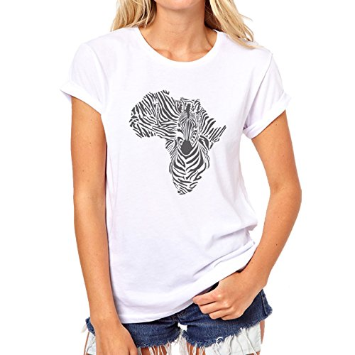 Zebra Animal Africa Map Black White Damen T-Shirt Weiß