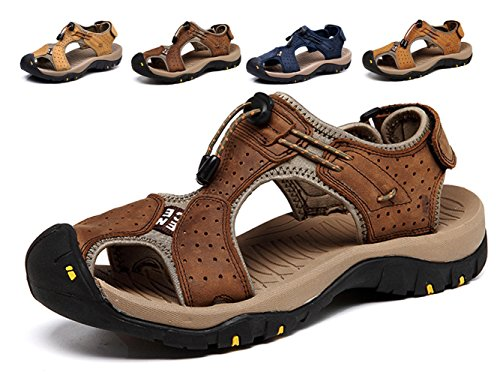 Lijeer Sommer Neue Outdoor Herren Strand Schuhe Leder Casual Schuhe Korean Breathable Wxposed Toe Leder Sandalen Baotou Anti-Rutsch (Strand-herren-schuhe)