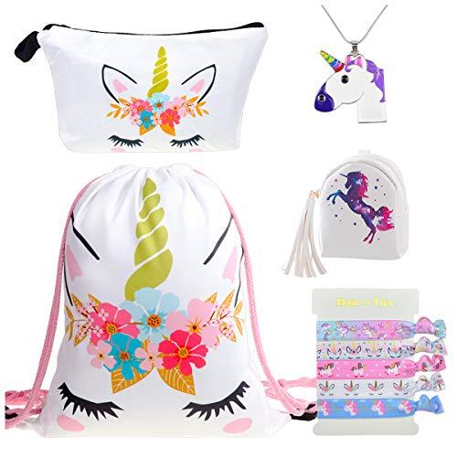 DRESHOW 5 Stück Süße Einhorn Geschenke für Mädchen und Damen Einhorn Kordelzug Rucksack/Schminktasche/PU Geldbörse Kupplung Taschen/Legierung Kette Halskette/Haargummis