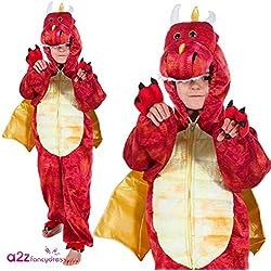 Red Dinosaur Dragon - Kids Costume 5 - 7 years