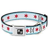 Buckle Down 27,9–43,2cm Chicago Flagge Hundehalsband Bone, mittel