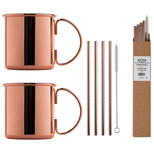 ALANDIA Kupfer-Becher Moscow Mule Set 2X Kupferbecher | 4X Kupferstrohhalme | 1X Reinigungsbürste | 1X Cocktail-Rezeptkarte