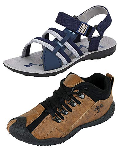 Chevit Men's Combo Pack of 2 Sports Shoes & Sandals (Running Shoes & Floaters) CB-423+601-7