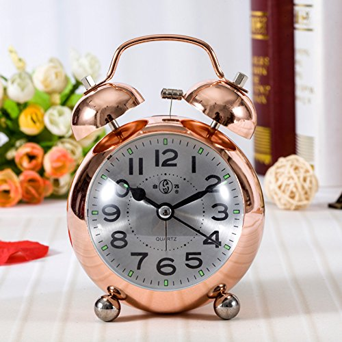 lgclock Flying Metall 7,6 cm Bell Nachtlicht Innovation Cute Cartoon gedeckten Fashion Antik Lazy Studenten eine kleine Wecker Rose gold aluminium (Kostüme Android 18)